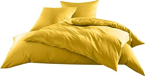 Mako-Satin Baumwollsatin Bettwäsche Uni einfarbig zum Kombinieren (Kissenbezug 80 cm x 80 cm, Gelb)