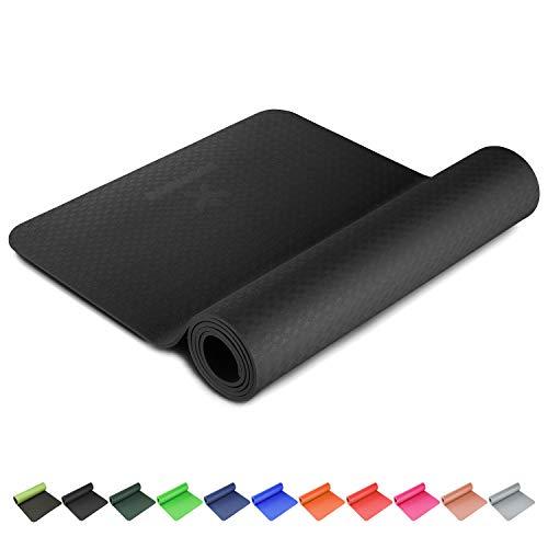 BODYMATE Yogamatte Premium TPE rutschfeste Fitnessmatte, Sportmatte Gymnastikmatte Matte für Fitness, Yoga, Pilates, Sport- Schwarz - Größe 183x61cm – Dicke 6mm Schwarz