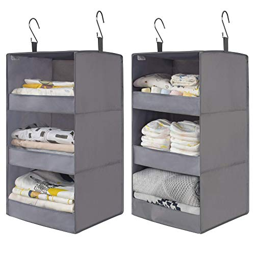 """GRANNY SAYS Two 3-Shelf Hanging Closet Organizers, Collapsible Closet Hanging Shelves, Nursery Hanging Organizers, Ash Gray, 28.9"""" H X 12.2"""" W X 12.2"""" D, 2-Pack"""
