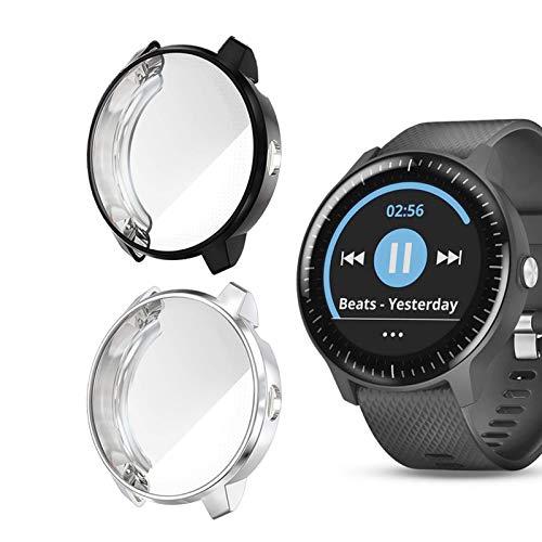 Dilhvy Hülle für Garmin Vivoactive 3 Music schutzfolie, (2 Stück) Schutzhülle TPU HD Ultra-Thin zubehör Case für Garmin Vivoactive 3 Music GPS Smartwatch (Schwarz+Silber)