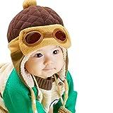 EDOTON Baby Kinder Earflap Hut, Winter Warme Pilot Flieger Mütze Wintermützen für Mädchen Jungen 6 Monate -3 Jahre (Kaffee)