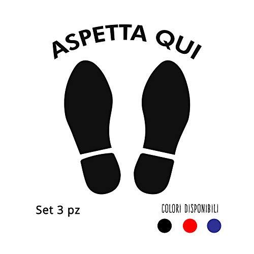 Set 3 adesivi calpestabili distanziali ASPETTA QUI Sagome Piedi - Vari colori disponibili- 28,5 x 32,5cm - Kamiustore (Blu)