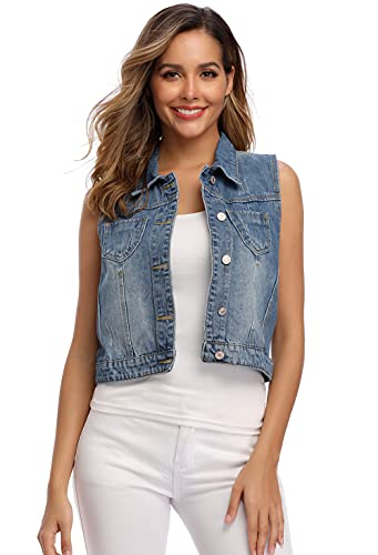 MISS MOLY Women's Sleeveless Denim Vest Washed Button Up Casual Jean Jacket w 2 Flap Pockets