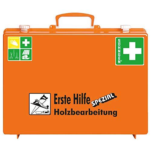 SÖHNGEN 0360104 Erste-Hilfe-Koffer SPEZIAL Holzbearbeitung, Verbandskoffer mit Wandhalterung, ASR A4.3/DIN 13157 aus Kunststoff, mit PRÜFPLAKETTE