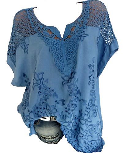 Rolanscia Damska elegancka bluzka i tunika, bluzka na lato, odświętna koszulka, z krótkim rękawem, lekka, pusta, górna część