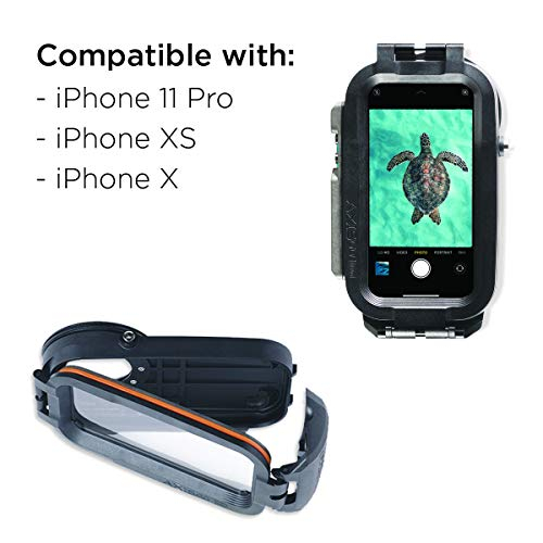 AquaTech AxisGO iPhone 11 Pro/iPhone X/iPhone Xs Waterproof Phone Housing for Underwater Action Photography Snorkeling Surfing Travel Case - Deep Black