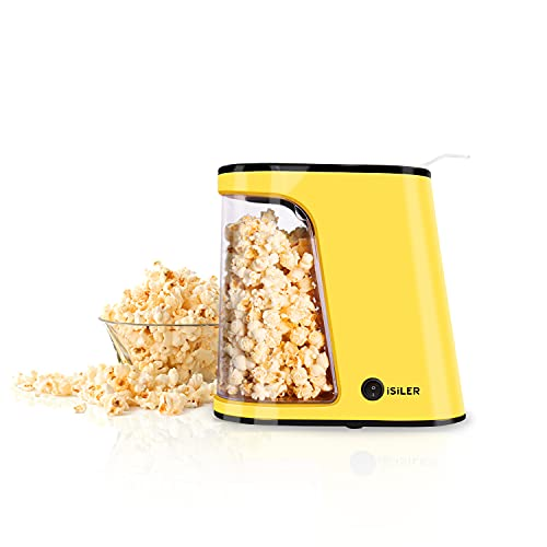 Hot Air Popcorn Machine, ISILER 1200W Electric Popcorn Maker, 1 Minute Fast Popcorn Popper with Container & Measuring Cup, Oil-Free,BPA-Free & ETL Certified, Use Popcorn Kernels