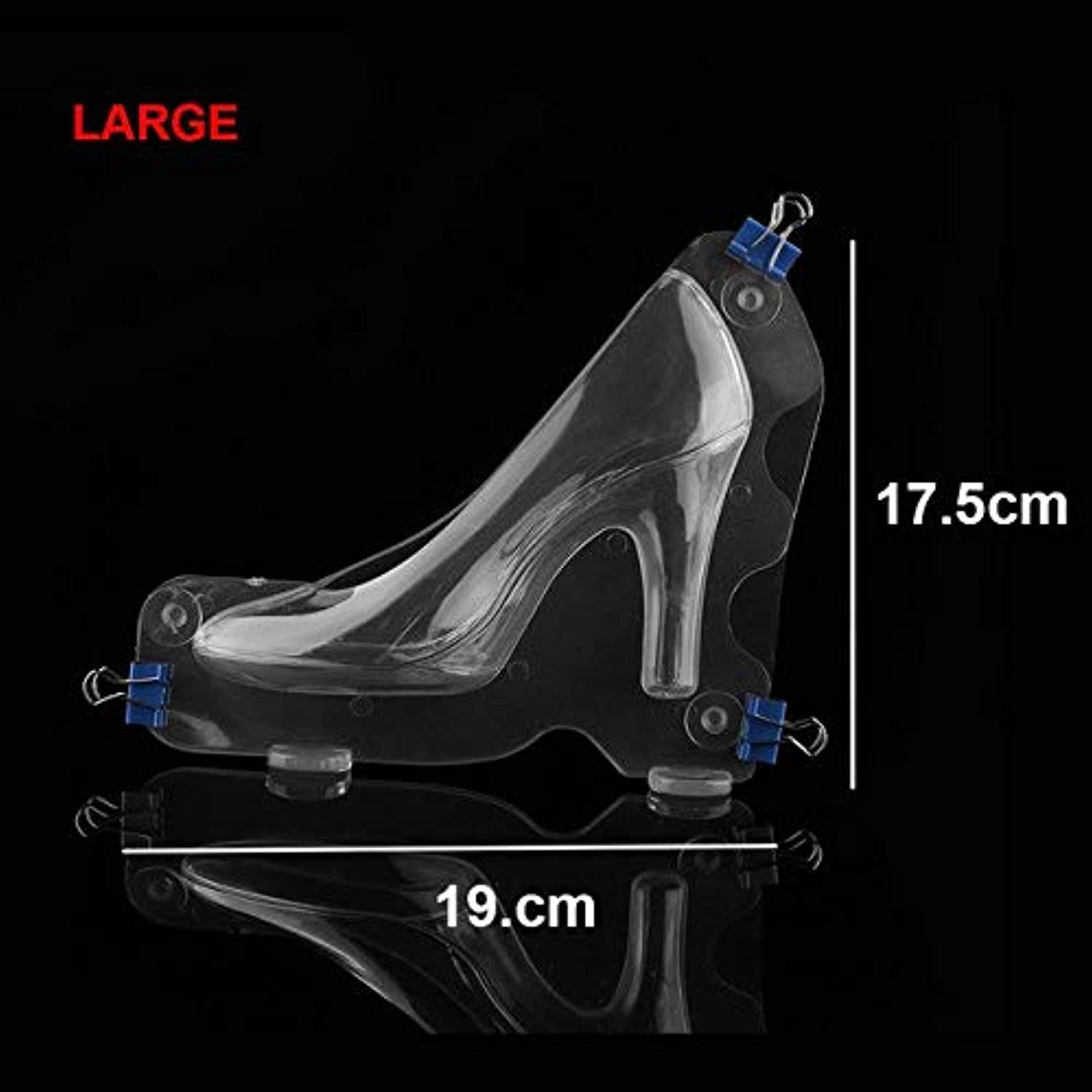 Farmerly 1Pc Clear Polyate Plastic Baking Molding Suger Craft 3D Chocolate Princess Crystal High Heel shoes Mold  Large