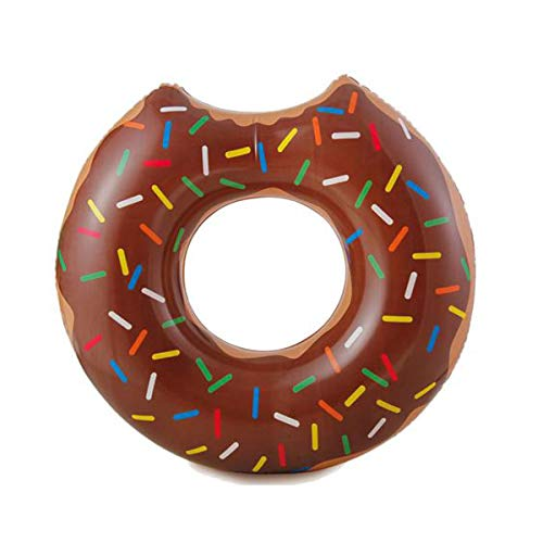 Cisne 2013, S.L. Flotador Donut Mordido diseño Chocolate Sprinkles Adulto Medidas 89x84x23 cm. Flotador mordisco rosquilla para Playa o Piscina Chocolate.