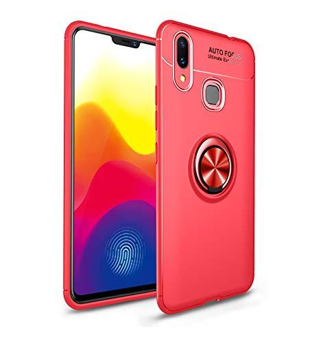 TiHen Funda Xiaomi Mi Pocophone F1, 360 Grados Protective con Anillo Soporte+Pantalla de Vidrio Templado Case Cover Skin móviles telefonía Carcasas Fundas para Xiaomi Mi Pocophone F1 -Rojo