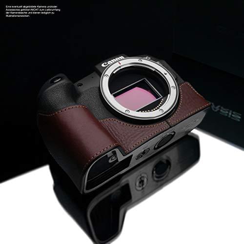 GARIZ Design Kameratasche für Canon EOS RP Vollformatkamera | Fototasche aus italienischem Leder | Tasche für Canon EOS RP Kamera | Tasche Dunkelbraun | Ledertasche Naht Braun XS-CHEOSRPBR