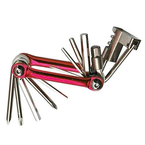 Outils de Vélo Kit de Réparation Multifonction Trousse d'outils de Réparation de Vélo 11 en 1 Clé Tournevis Disjoncteur de Chaîne Acier Carbone,Red