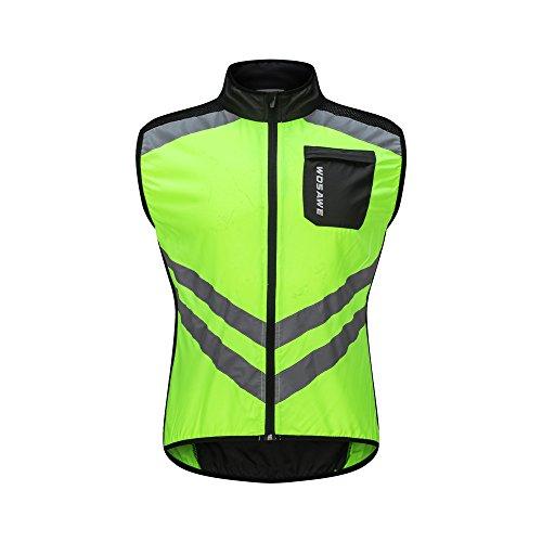 WOSAWE Radweste Atmungsaktive Reflektierende Gilet Männer Frauen Winddicht Ärmellose Jacke Sicherheit für Motorrad, Reiten und Joggen in der Nacht (BL208 Grün M)
