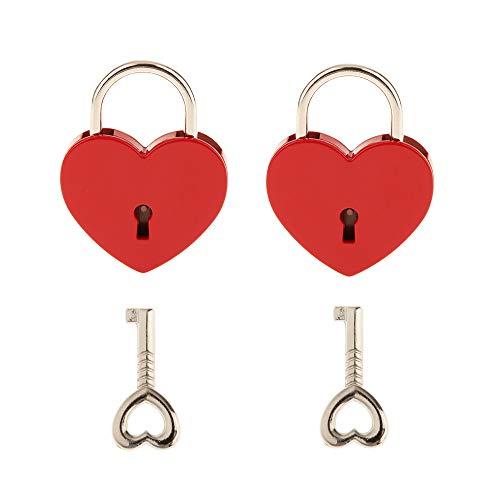 Piccolo lucchetto a forma di cuore in metallo con chiave per portagioielli o diario, confezione da 2