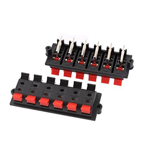 Sourcingmap® 2X 12 Weg Auslösen Anschluss Platte Stereolautsprecher Klemmenleiste Block de