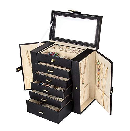Caja de joyería grande Organizador Funcional enorme, caja de almacenamiento de joyería de cuero para mujer, niñas, anillo, anillo, pendiente, Pulsera, Pulsera, organizador con espejo ( Color : Black )