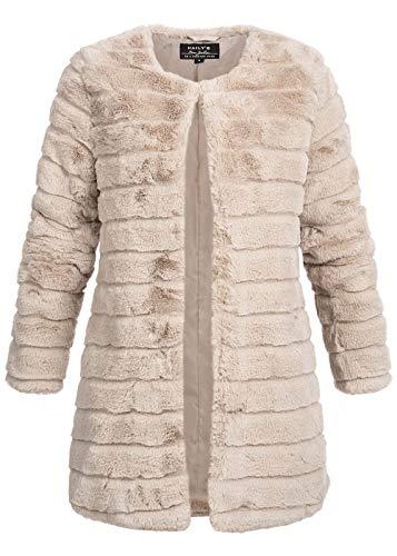 Hailys Damen Kunstfell Jacke offener Schnitt Winterjacke kragenlos beige, Gr:L