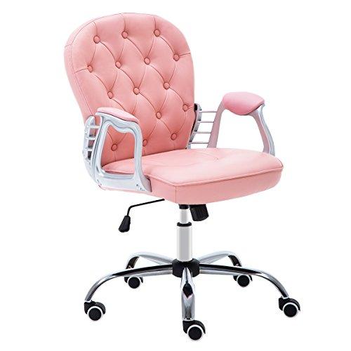 JL Comfurni Bürostuhl Drehstuhl Ergonomisch Schreibtischstuhl höhenverstellbar 360°drehbar Computerstuhl Chefsessel mit Armlehne für Mädchen/Kinder Rosa