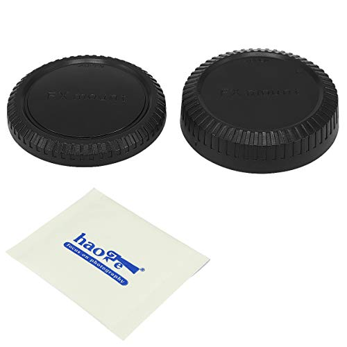 Haoge Camera Body Cap and Rear Lens Cap Cover Kit for Fujifilm X FX Mount Camera Lens Such as X-Pro1 X-Pro2 X-Pro3 X-T1 X-T2 X-T3 X-T10 X-T20 X-T30 X-E1 X-E2 X-E2s X-E3 X-A10 X-A20 X-H1 X-A5 X-T100