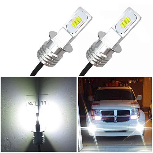 WLJH Lot de 2 ampoules LED H3 pour feux de brouillard - 6000 K - Blanc xénon - Haute puissance - Puces 3570 CSP - Pour feux de brouillard