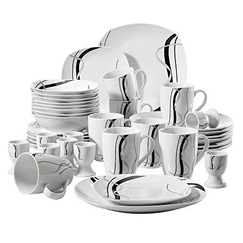 VEWEET Geschirrservice 'Fiona' aus Porzellan 40 teilig | für 8 Personen | Frühstückservice mit je 8 Eierbecher, Kaffeebecher 350 ml, Müslischalen, Dessertteller und Flachteller
