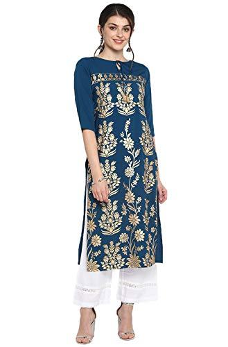 Janasya Indian Women's Turquoise Blue Poly Crepe Kurta(JNE3457-KR-XXL)