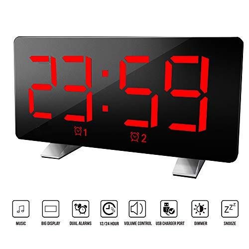 Houkiper Digitale Curve, led-scherm, dimbaar, digitaal, met geïntegreerd geluid, alarm, USB-oplaadpoort Rood