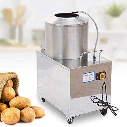 Electric Potato Peeler - 110V 1500W Commercial Potato Peeler - Potato Peeler Machine with Caster Wheels - Stainless Steel Peeler Washer for Restaurants, School Canteens with User Manual (Style 2)
