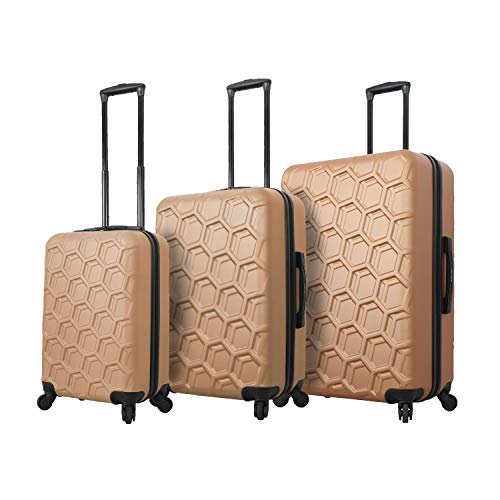 Mia Toro Italy Molded Art Hive Hard Side Spinner Luggage 3 Piece Set, Gold, One Size