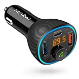 Rexing FM Transmitter Car Charger w/Bluetooth 5.0, Wireless Audio Adapter Dual USB & Type C, Quick Charge 3.0, Enhanced Bass Music Player, Hands-Free Calling, Siri&Google Assistant Voice Control