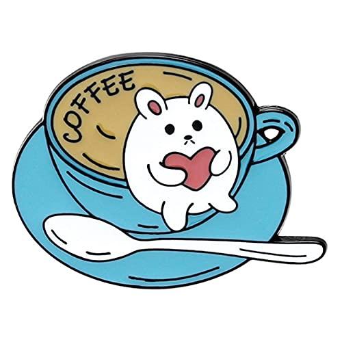 Joyas de fantasía para mujer   Diseño animado gato taza de café broche bolso sombrero esmalte pintura alfiler ropa insignia regalo – 1 pendiente