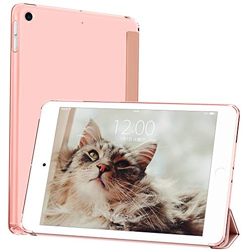 DTTO Case for New iPad 7th Generation Case 10.2 Inch 2019, [Romance Series] Slim Fit Lightweight Smart Trifold Stand with Soft TPU Back Cover [Auto Sleep/Wake], Rose Gold