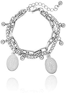 Hilavie Fashion Women Bracelet Silver Plate Steel Overlap Bracelet
