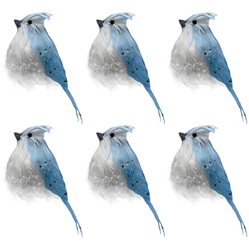 LWINGFLYER 6pcs Artificial Blue Jay Bird Feathered with Clip for Christmas Tree Ornaments Flower Arrangements