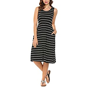Women's Summer Sleeveless Striped  Loose Midi Casual Dress with Pockets