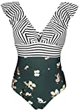 COCOSHIP Black White Striped Bloom Floral One Piece Deep V...