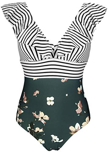 COCOSHIP Black White Striped Bloom Floral One Piece Deep V Neckline Bikini Backless Swimsuit Flounce Ruffle Swimwear Monokini 14