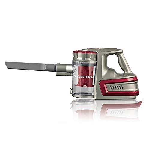 CLEANmaxx Akku-Zyklonsauger Cordless Power | Kabelloser Handstaubsauger, 2000 mAh Li-Ion Akku | Saugkraft-Regulierung in 2 Stufen [40min Akkulaufzeit, 72cm Alu-Steckrohr] (Rot)