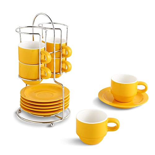 KOOV Porcelain Stackable Espresso Cups Set, Coffee Set with Saucers and Metal Stand, 2.5 Ounce Coffee Cup Set of 6 (Yellow)