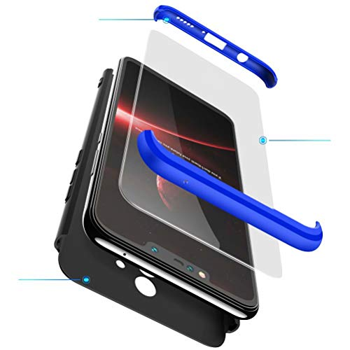 BESTCASESKIN Hülle Kompatibel mit Xiaomi Redmi S2/Y2 Handyhülle,Superleichte Superdünne 3 in 1 PC Schutzhülle Stoßfeste Kratzfeste + Gratis Panzerglas Schutzfolie Blau Schwarz