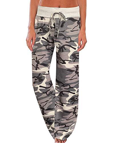 NEWCOSPLAY Women's Comfy Pajama Pants Floral Print Drawstring Palazzo Lounge Wide Leg Pants (M, Camouflage)