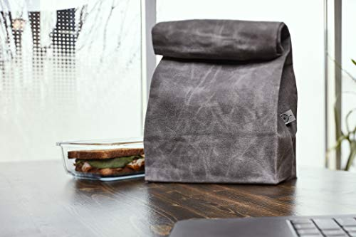 Product Image 3: Colony Co. Lunch Bag, Waxed Canvas, Durable, Plastic-Free, For Men, Women and Kids, Gray