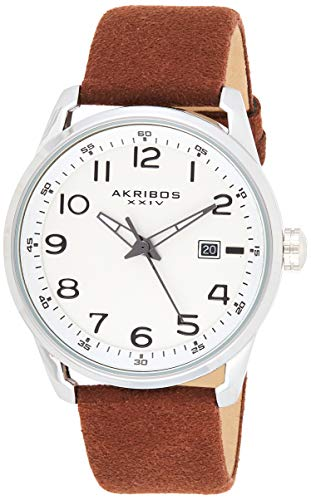 Akribos XXIV Men's Leather Watch – Casual Brown Suede Designer Wristwatch – Classic Round Analog Quartz - AK1029BR
