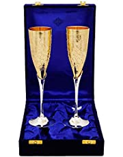 Indian Art Villa Silver-plated Flute Wine Glass - 2 Pieces