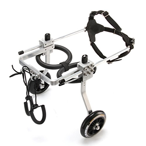 ANMAS Hund Rollstuhl,Verstellbarer und tragbarer Rollstuhl für Hinterbeine, Hundegeschirr und Hinterbeine, Rehabilitation für Hund, für Mittlerer Hund,2 Räder - (M)