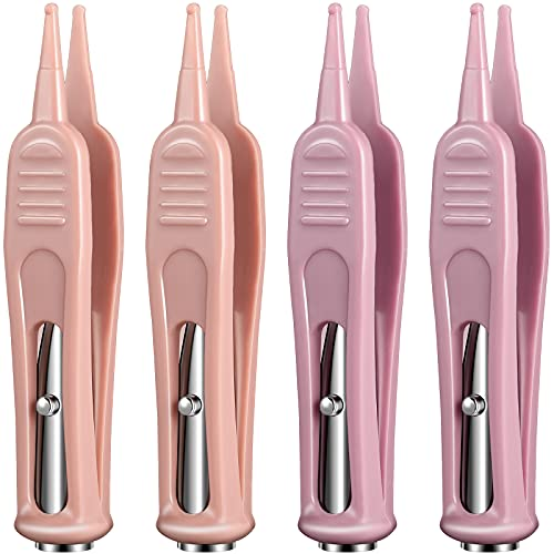 4 Pieces Infant Nose Cleaning Tweezer with LED Light Safe and Effective Plier Infant Cleaning Pincet Forceps Round-Head Clip Care Ear Nose Navel Clean Tool Nipper for Relieves Stuffy Nose