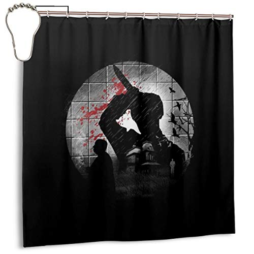 GSEGSEG Wasserdichter Polyester-Duschvorhang mit Psycho-Silhouette, Alfred Hitchcock, dekorativer Badezimmer-Vorhang mit Haken, 183 x 183 cm