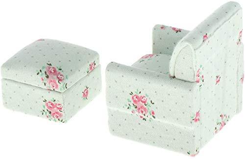 DIVISTAR 1/12 Dollhouse - Muebles de habitación en miniatura - Sofá floral con taburete - Mini realista modelo juguete Set