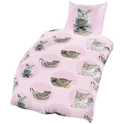one-home Katzen Bettwäsche 135x200 cm Cats grau rosa pink Microfaser B-Ware Set 2 teilig