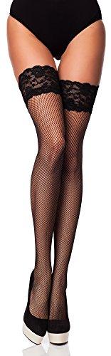 Merry Style Medias Rejilla Autoadhesivas de Red Malla Lencería Sexy Mujer MSSS003 (Nero, M L (40-44))